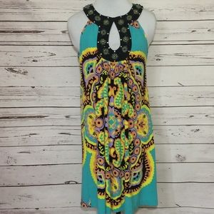 eci New York Abstract Dress With Beaded Collar